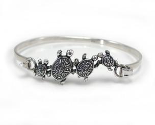 Sterling Silver Turtles Tension Hook Clasp Bangle Bracelet
