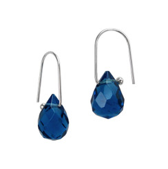 Teardrop Crystals on Modern Hook Earrings, Midnight Blue