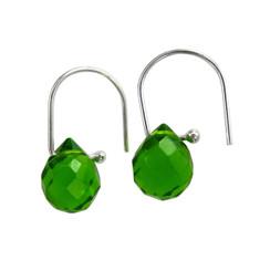 Teardrop Crystals on Modern Hook Earrings, Spring Green