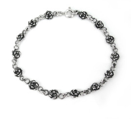 Sterling Silver  Rose Link Bracelet