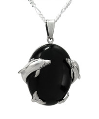 Sterling Silver Dolphins Onyx Pendant Necklace