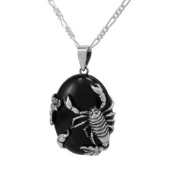 Sterling Silver Scorpion Onyx Pendant Necklace