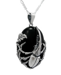 Sterling Silver Dynastes Hercules Bettle Onyx Pendant Necklace