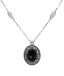 Twist Rope Scrollwork Necklace, Onyx