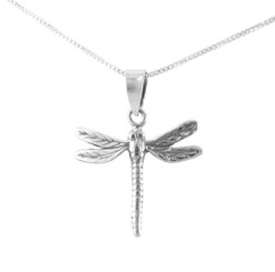 Sterling Silver Dragonfly Open Wings Charm Pendant Necklace