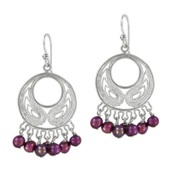 Bohemian Sterling Silver and Pearl Earrings, Fuchsia