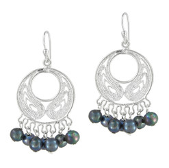 Bohemian Sterling Silver and Pearl Earrings, Peacock