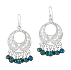 Bohemian Sterling Silver and Pearl Earrings, Teal