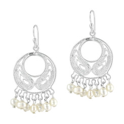 Bohemian Sterling Silver and Pearl Earrings, White