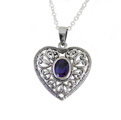 Sparkling Crystal Ornate Heart Adjustable 16-18 Necklace