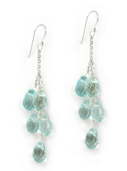 "Sterling Silver ""Westeria"" Cascading Drop Earrings, Aqua"