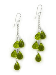 "Sterling Silver ""Westeria"" Cascading Drop Earrings, Olive"