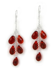 "Sterling Silver ""Westeria"" Cascading Drop Earrings, Red"