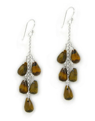 "Sterling Silver ""Westeria"" Cascading Drop Earrings, Tiger's Eye"