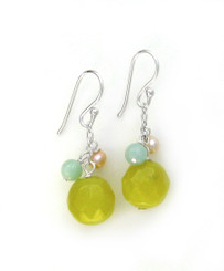 "Sterling Silver ""Candy"" Drop Earrings, Green Apple"