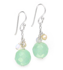 "Sterling Silver ""Candy"" Drop Earrings, Sea Green"