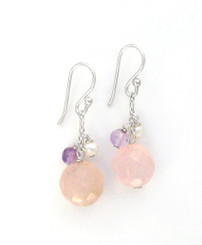 "Sterling Silver ""Candy"" Drop Earrings, Pink"