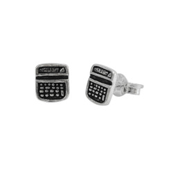 Sterling Silver Calculator Stud Post Earrings