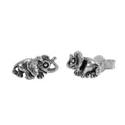 Sterling Silver Big Ears Elephant Stud Post Earrings
