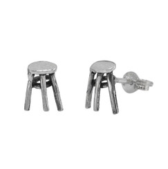 Sterling Silver Artist Stool Stud Post Earrings
