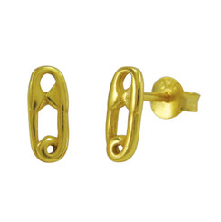 Gold Plated Sterling Silver Safety Pin Stud Post Earrings