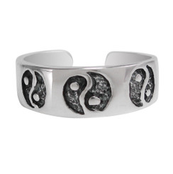 Sterling Silver Yin Yang Band Adjustable Toe Ring