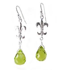 "Sterling Silver ""Fleur-de-lis"" Olive Crystal Drop Earrings"