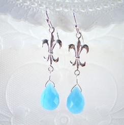 """Sterling Silver """"Fleur-de-lis"""" Sky Blue Crystal Drop Earrings"""