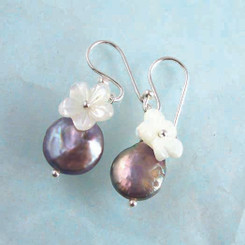 "Sterling Silver ""Bahama"" Cultured Coin Pearl & Carved Mother-of-pearl Flower Earrings, Peacock"