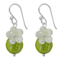 "Sterling Silver ""Bahama"" Cultured Coin Pearl & Carved Mother-of-pearl Flower Earrings, Light Green"