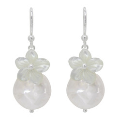 "Sterling Silver ""Bahama"" Cultured Coin Pearl & Carved Mother-of-pearl Flower Earrings, White"