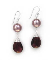 Sterling Silver Simulated Shell Pearl Crystal Drop Earrings, Purple