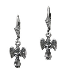 Dainty Sterling Silver Angel Charm Earrings on Leverback