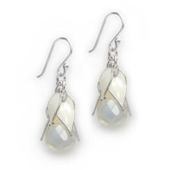 "Sterling Silver ""Tatiana"" Enamel Leaves Teardrop Crystal Earrings, White Leaves Iridescent Drop"