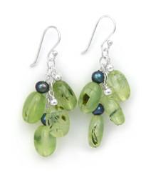 Sterling Silver Gemstones Cluster on Chain Drop Earrings, Prehnite