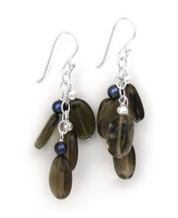 Sterling Silver Gemstones Cluster on Chain Drop Earrings, Smoky Quartz