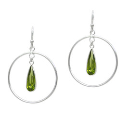 Sterling Silver Circle and Olive Teardrop Earrings