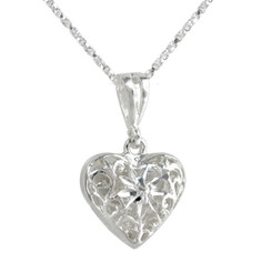 Sterling Silver Double-sided Flower and Heart Necklace