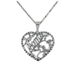 "Sterling Silver ""Mom"" with Swirls & Leaves Heart Necklace"