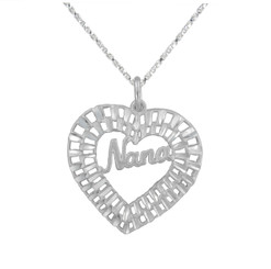 "Sterling Silver ""Nana"" Heart Necklace"