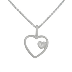 Sterling Silver Matte Finish Heart In Heart Necklace