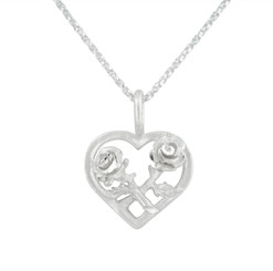 Sterling Silver Matte Finish Two Rose Heart Necklace