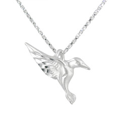 Sterling Silver Matte Finish Hummingbird Necklace