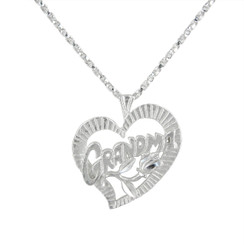 "Sterling Silver Flowery ""GRANDMA"" Heart Necklace"