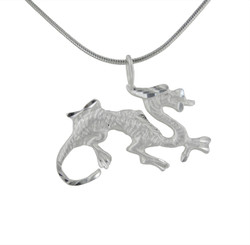 Sterling Silver Dragon Matte and Etched Pendant Necklace