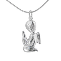 Sterling Silver Kneeling & Praying Winged Angel Charm Necklace