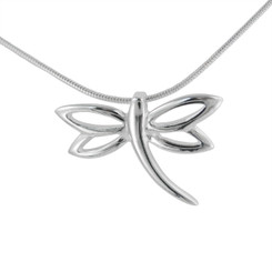 Sterling Silver Dragonfly Slider Charm Pendant Necklace