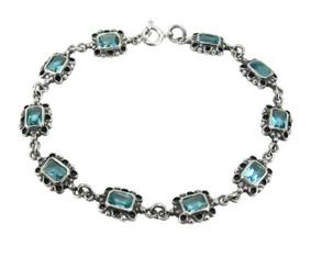 Sterling Silver Crystal Link Bracelet, Aqua