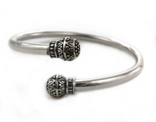 "Sterling Silver ""Anya"" Ornate Criss Cross Opening Bangle Bracelet"