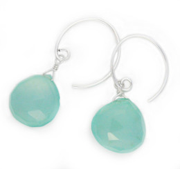 Stunning Gemstone Drop on Open Circle Hook Earrings, Blue Chalcedony